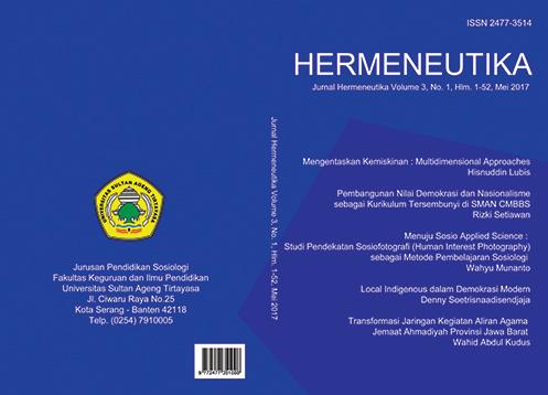 Hermeneutika : Jurnal Hermeneutika Vol 3, No 1 (2017)