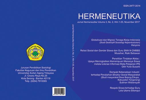 Hermeneutika : Jurnal Hermeneutika Vol 3, No 2 (2017)